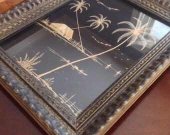 Stunning Black Silk Straw Art featuring tropical scene