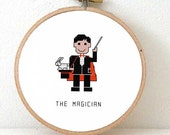 Magician cross stitch pattern. DIY magician decoration. embroidery pattern. Black magic cross stitch pattern. Magician ornament. invitation