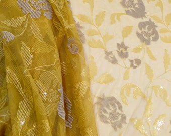 Champagne and Yellow Beaded Tulle, Beaded Lace, Yellow Lace, Yellow Fabric, Champagne Lace, (C6)