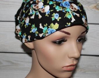 Charm Skulls, Scrub Hat, Tie back Pleated Scrub Hat with band, Women's Surgical Scrub Hat, OR Nurses