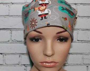 Blackbeard Pirates,Surgical Scrub Hat,OR  Nurses Hat,Chemo Hat,  Women's Surgical Scrub Hat, Vet