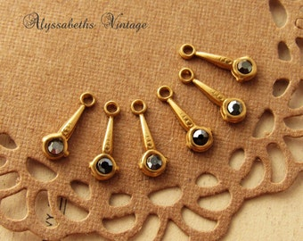 Tiny Art Deco Raw Brass and Black Hematite Rhinestone Dangles 1 Ring Drops Charms - 6