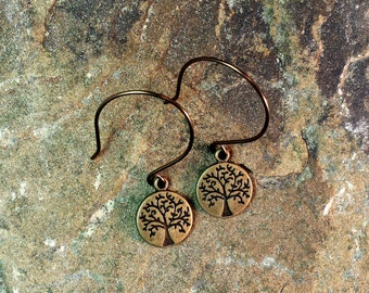 Tree of Life Earrings Pierced Handmade Rounded Wires Vintage Bronze