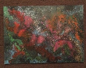 SPACE ON ACID original one of a kind acrylic space painting on watercolor paper art