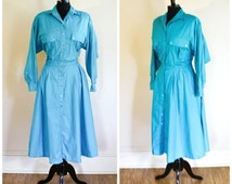 Vintage Blue Rockabilly Dress Silver Snaps Swing Dress Motifs Aqua Blue Long Sleeves 80s  Western Shirt Dress