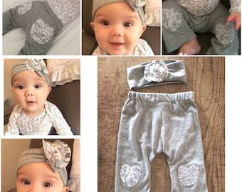 Pant and headband set, newborn, phot prob, lace cotton stretch headband, baby headwrap, baby pants