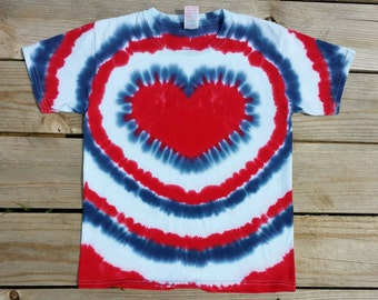 Women's Patriotic Heart Tie Dye T-Shirt,  S M L XL 2XL 3XL,  Red White and Blue Top, 4th of July Shirt, Holiday, Women's Hippie Shirt