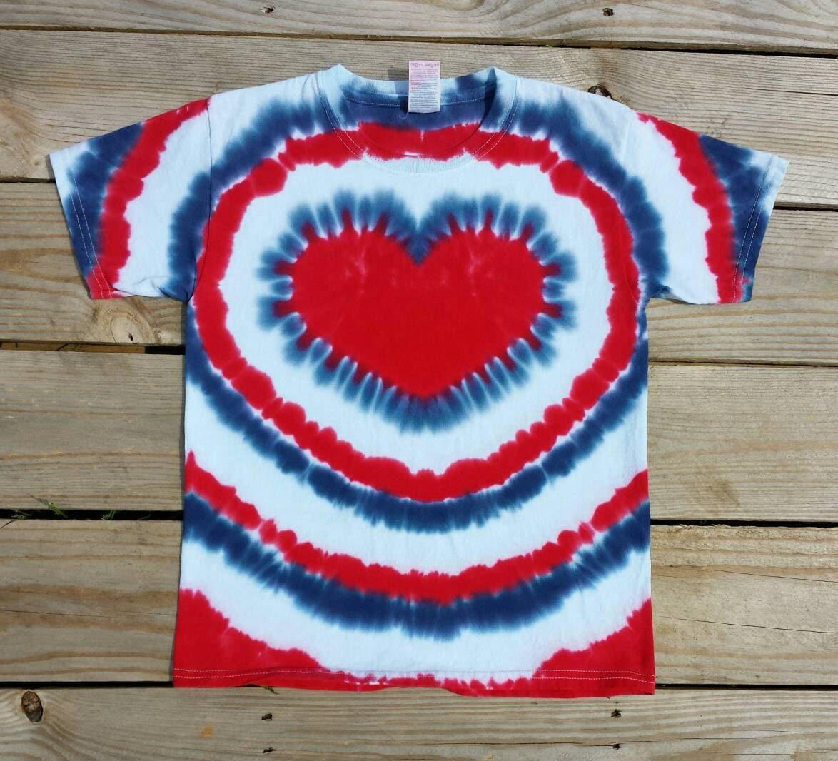 Women 39 S Patriotic Heart Tie Dye T Shirt S M L Xl 2xl