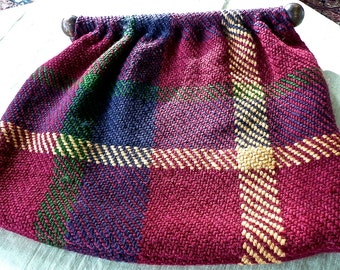 Vintage Purse - Knitting Bag - Plaid Wool Material Pouch - Roomy Satchel- Hippie Bag -Cloth Tote -Plaid Material Bag - Boho Bag - Red Clutch