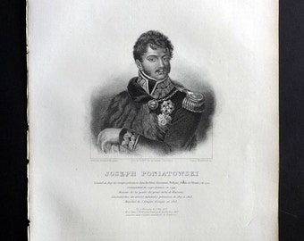 Chodzko Poland 1843 Antique Portrait Print. Joseph Poniatowski
