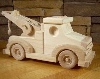 Handmade Wooden Tow Truck Toy
