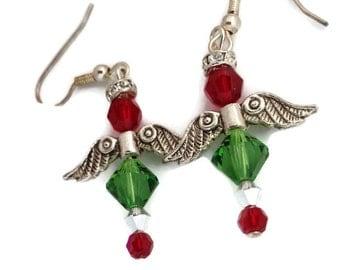 Christmas Angel Earrings, Swarovski Angel Earrings, Silver Angel Wing Earrings