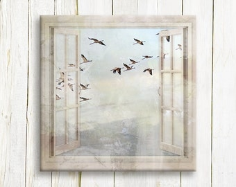 Flock of Cranes in a window view - art print on canvas - housewarming gift