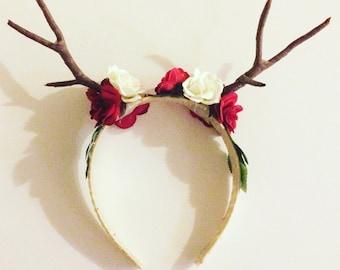 Deer doe flower headband, roses cosplay deer antler headband