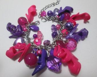KIDS SIZE / Fuchsia and Purple  / Barbie Shoe bracelet/ Item 9-108