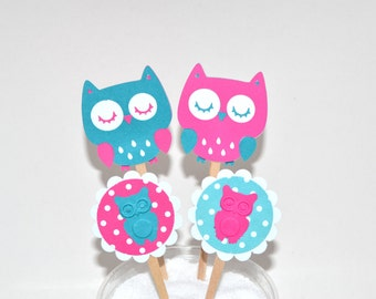 12 Pink Owl Cupcake Toppers / Owl Baby Shower  Invitation /  Owl Toppers / Owl Birthday Party / Woodland Toppers / Owl Party Decor /Teal Owl