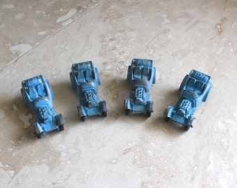 Lot of 4 Tootsietoy roadsters - blue Tootsietoy roadster - chippy blue Tootsietoy cars - diecast cars - vintage toy cars - 1960s toy car