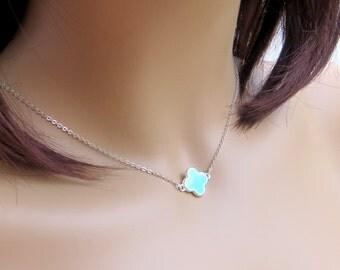Mint Clover Necklace. Sterling Silver Clover Necklace.  Four Leaf Clover. Quatrefoil Pendant. Lucky Clover. Sterling Silver.