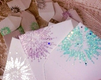 Tooth fairy envelopes - Tiny envelopes with inserts - mini envelopes with a touch of sparkle,  pastels miniature envelopes - handmade