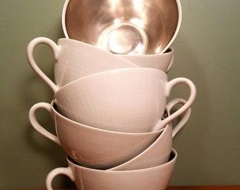 SALE - Dorothy C. Thorpe - Sterling Lined Teacups - Set of Seven