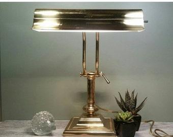 SALE - Adjustable Brass Desk Lamp with Square Base