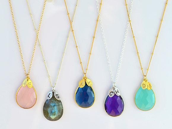 personalized gemstone necklace large gemstone necklace