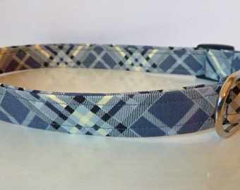 """Dog Collar - Plaid Dog Collar - Gray, Black & Sand - """"Samuel"""" NO Extra Charge for colored buckles"""