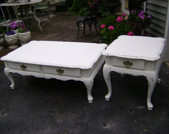 cottage chic coffee table and end table