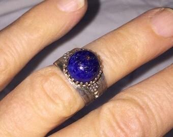 Vintage Lapis Ring Silver Filigree Lapis Lazuli Ladies' Ring Size 5
