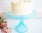 Vintage Aqua Blue Cake Stand/ Wedding Cake Stand/Cup Cake Stand/ Something Blue/Tea Party /Birthday Party/ 9 Inch