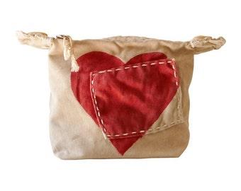 Ali Lamu Small Clutch HEART Red