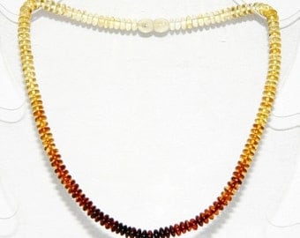 Baltic amber adult necklace, rainbow color discs beads 30