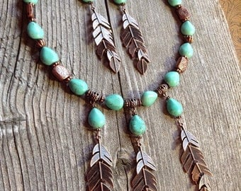 Chunky western copper feather necklace and earring set