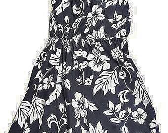 Handmade in Hawaii Dark Navy Strapless Hawaiian Print Dress Size Medium