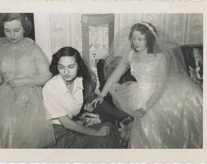 Bride & Bridesmaid[s], Emotional Moment, 1953 Vintage Snapshot Photo (61445)