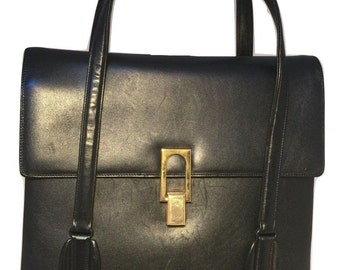 DESIGNER VintageBlack Leather Handbag
