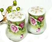 Pair of Lefton Green Heritage Salt and Pepper Shakers Hand Painted Roses