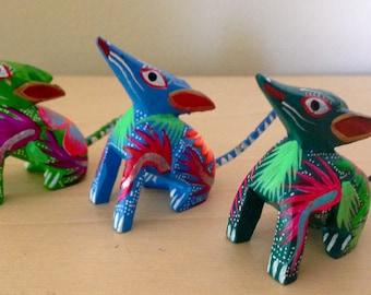 Oaxacan coyote alebrije trio- Oaxaca Mexico wood carving - Mexican wolf folk art