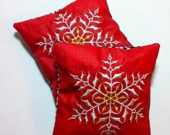 Balsam Snowflake Sachet, Red Handmade Balsam Sachet, Recycled Paraglider Sachet , Embroidered Snowflake Balsam Sachet