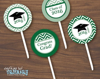Green and White Graduation Cupcake Toppers, Chevron Favor Tags, Party Circles, DIY printable digital file