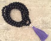 SALE Black onyx mala beads with purple tassel; mala beads; rosary beads; meditation necklace