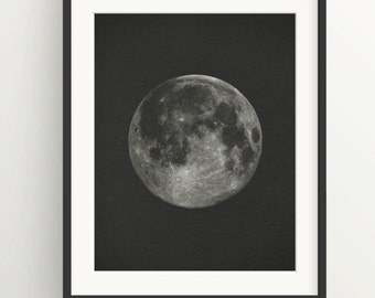Moon Print - Black Background - Screenprint - Night Sky - Vintage - Sacred Geometry - Hipster - Coachella -Wall Art Print