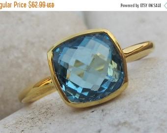 SALE Square Blue Topaz Ring- Topaz Ring- Blue Topaz Ring- Blue Quartz Ring- Silver Ring- Stone Ring- Gemstone Ring- Blue Ring- Blue Stone Ri