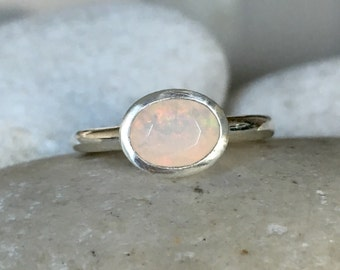 Simple Opal Engagement Ring- Natural Opal Promise Ring- Oval Solitaire Anniversary Ring- October Birthstone Ring- Sterling Silver Ring