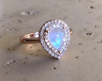 Moonstone Engagement Ring- Rose Gold Promise Ring- Halo Pear Moonstone Ring- Rainbow Moonstone Solitaire Ring- June Birthstone Ring
