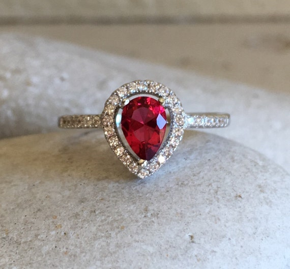 pear shape ruby ring engagement ring promise ring ruby