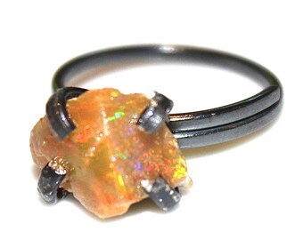 Reserved for JW Orange Opal Ring Statement Ring Large Opal Jewelry Ethiopian Opal Chunky Ring Raw Opal Ring Artisan Jewelry Natural Opal
