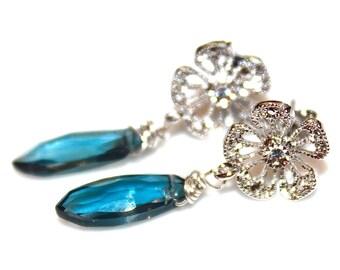London Blue Topaz Earrings Blue Earrings Silver Flower Earrings Everyday Earrings Pave Flower Jewelry Gemstone Jewelry December Birthstone