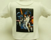 Star Wars Theme (1) Silver Glitter Transfer T-Shirt For 16 or 18 Inch Dolls Like The American Girl Or Bitty Baby