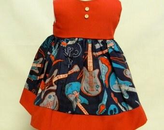 Sleeveless Guitar Print Dress  For 18 Inch Doll Like The American Girl